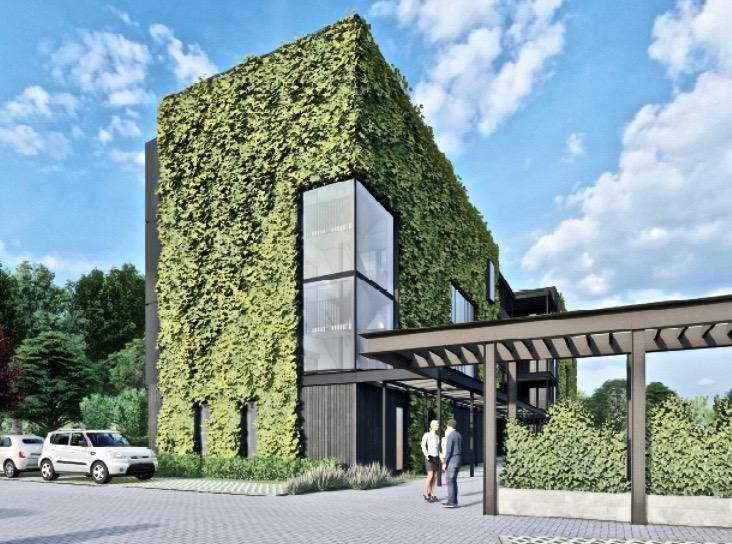 Het nieuwe hotel bij Spa Zuiver, mèt z.g. vegetatiegevels.