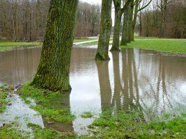 Het terrein van de Dagrecreatie na zware regenval