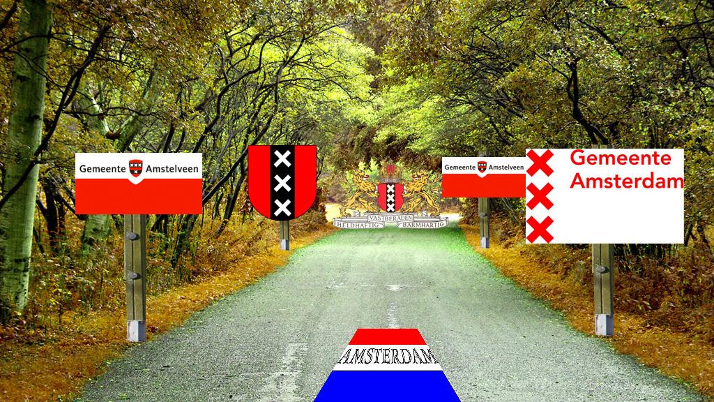 Zowel Amstelveen als Amsterdam gaan over het Bos (fotobewerking: Ruud Blok)