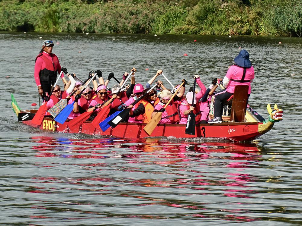 De boot van de Pink Sisters. Alle vrouwen aan boord hebben kanker overwonnen