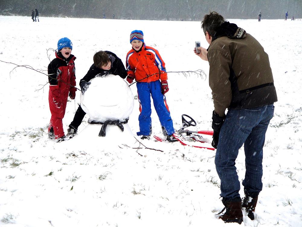 Sneeuwpret in vroeger dagen