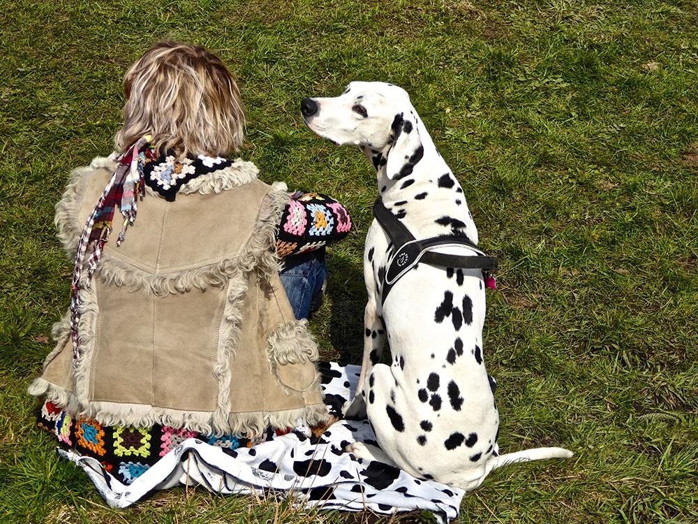 Baas en hond tijdens hun finest hour in het Bos