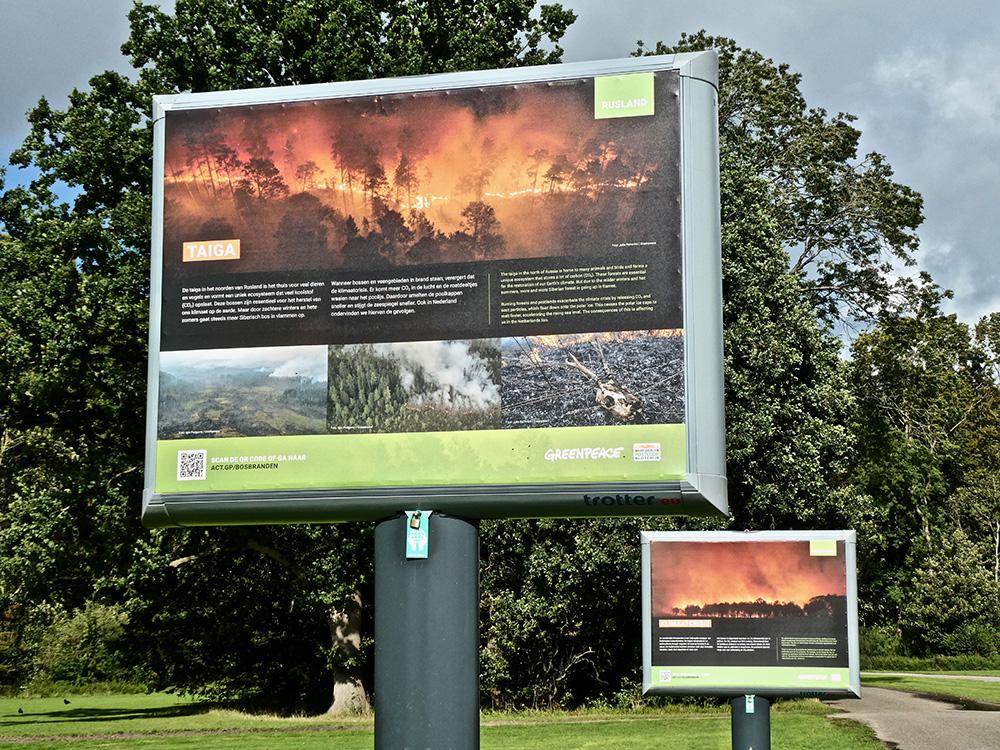 Bosbranden zijn het thema van foto's van Greenpeace