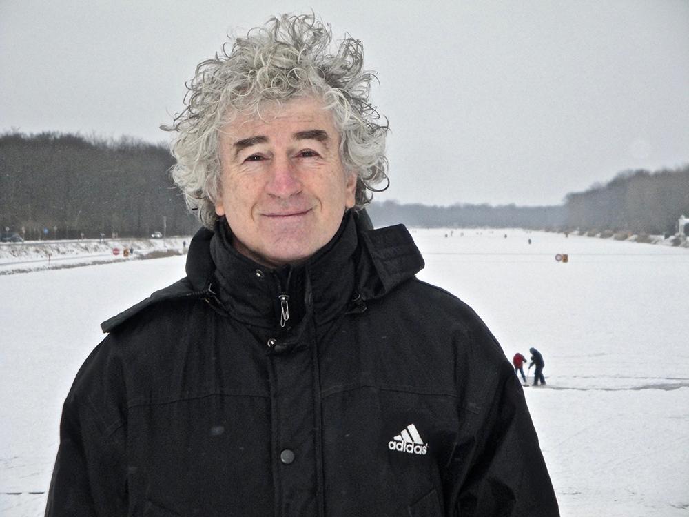 Frank Kramer na het hardlopen in de sneeuw bij de Bosbaan